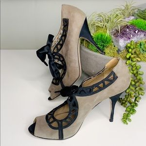 Valentino Gry Suede Cut Out Ribbon Mary Jane Heel